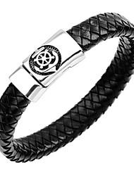 cheap -Men's Bracelet Bangles Leather Bracelet Anchor Vintage Fashion Stainless Steel Bracelet Jewelry Dark Blue / Coffee / Brown For Gift Formal