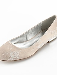 cheap -Women's Wedding Shoes Plus Size Flat Heel Round Toe Wedding Flats Comfort Ballerina Wedding Party & Evening Lace Sparkling Glitter White Champagne Ivory