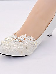 cheap -Women's Wedding Shoes Cone Heel Pointed Toe Rhinestone / Bowknot / Imitation Pearl Lace / Leatherette Slingback / Basic Pump Spring & Summer White