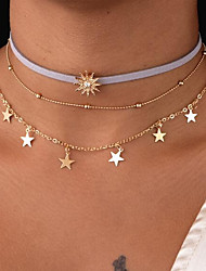 cheap -Women's Choker Necklace Chain Necklace Layered Thick Chain Floating Sun Star Ladies Vintage Multi Layer Fabric Metal Alloy Gold 47 cm Necklace Jewelry For Gift Daily