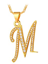 cheap -Men's Cubic Zirconia Pendant Necklace Monogram Name Alphabet Shape Letter Fashion Copper Gold Silver 55 cm Necklace Jewelry For Gift Daily