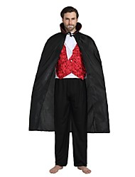 cheap -Vampire Costume Unisex Halloween Halloween Carnival Children's Day Festival / Holiday Polyster Outfits Black Solid Colored Halloween
