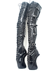 cheap -Women's Boots Sexy Shoes Sculptural Heel Round Toe PU Over The Knee Boots Novelty / Fashion Boots Fall & Winter Black / Party & Evening