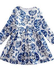 cheap -Kids Girls' Basic Daily Floral Print Long Sleeve Knee-length Dress Blue / Cotton