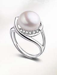 cheap -Women's Band Ring Freshwater Pearl Silver Pearl Stainless Steel S925 Sterling Silver Ladies Classic Fashion Party Daily Jewelry Ball