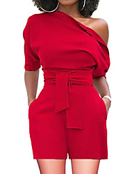 cheap -Women's Basic One Shoulder Black Wine White Wide Leg Romper Onesie, Solid Colored S M L High Waist Short Sleeve Summer