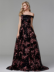 cheap -Ball Gown Off Shoulder Court Train Lace / Satin Floral / Elegant Prom / Formal Evening Dress 2020 with Appliques