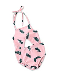 cheap -Kids Toddler Infant Girls' Active Holiday Beach Tropical Leaf Floral Geometric Print Backless Cut Out Bow Sleeveless Cotton Swimwear Blushing Pink / Lace up