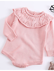 cheap -Baby Girls' Basic Daily Solid Colored Knitted Long Sleeve Cotton Bodysuit Blushing Pink