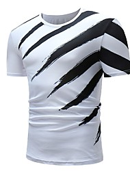 cheap -Men's Daily Weekend Basic Cotton T-shirt - Striped Black & White Round Neck White / Short Sleeve
