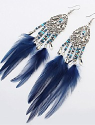 cheap -Cubic Zirconia Drop Earrings Leaf Feather Ladies Vintage Fashion Oversized Native American Resin Feather Earrings Jewelry Blue / Wine / Light Coffee For Date Holiday