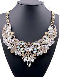 cheap -Women's Blue Red White Crystal Statement Necklace Bib Ladies Luxury European Chunky Acrylic Alloy White Red Blue 49 cm Necklace Jewelry For Party Evening Party