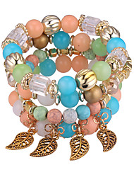 cheap -Bead Bracelet Stack Stacking Stackable Leaf Ladies European Fashion Acrylic Bracelet Jewelry Green / Blue / Pink For Party Daily