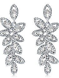 cheap -Crystal Drop Earrings Chandelier Leaf Ladies Elegant Fashion Bridal everyday Iced Out Earrings Jewelry Silver For Wedding Party / Evening