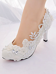 cheap -Women's Wedding Shoes Stiletto Heel Pointed Toe Rhinestone / Imitation Pearl / Sparkling Glitter Lace Slingback / Basic Pump Spring & Summer White