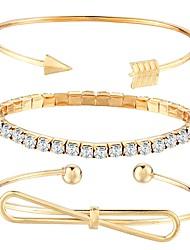 Недорогие -3шт Браслет разомкнутое кольцо Бант Дамы Мода Металл Браслет Ювелирные изделия Золотой Назначение Повседневные Для улицы