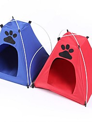 cheap -Dog Cat Tent Cave Bed Pet House Camping & Hiking Foldable Tent Pet Mats & Pads Oxford Cloth Solid Colored Footprint / Paw Red Blue