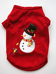 cheap -Dog Cat Pets Vest Cartoon American / USA Christmas Party Holiday Dog Clothes Red Costume Cotton XS S M L
