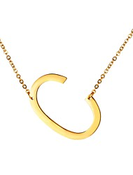 cheap -Men's Pendant Necklace Name Alphabet Shape Letter Fashion Stainless Steel Gold Black Silver 51 cm Necklace Jewelry For Gift Daily