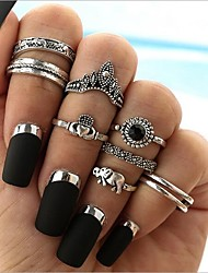 cheap -Women's Band Ring Ring Set Midi Rings Onyx 8pcs Silver Alloy Circle Geometric Ladies Vintage Bohemian Gift Holiday Jewelry Geometrical Elephant Heart