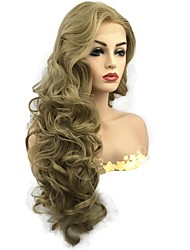 cheap -Synthetic Lace Front Wig Curly Middle Part Lace Front Wig Blonde Long Honey Blonde Synthetic Hair Women's Fluffy Blonde StrongBeauty