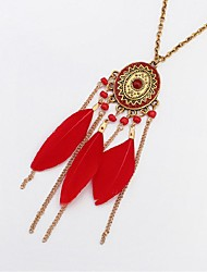 cheap -Tanzanite Pendant Necklace Long Necklace Tassel Fringe Feather Ladies Vintage Fashion Native American Feather Alloy White Black Red Dark Green 72 cm Necklace Jewelry For Holiday Going out