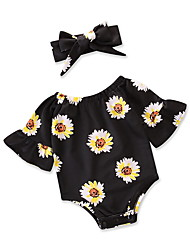 cheap -Baby Girls' Vintage / Active Daily / Holiday Print Floral Style Half Sleeve Romper Black