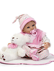 cheap -NPKCOLLECTION NPK DOLL Reborn Doll Girl Doll Baby Girl 22 inch Silicone - Newborn lifelike Cute Child Safe Non Toxic Hand Applied Eyelashes Kid's Unisex / Girls' Toy Gift