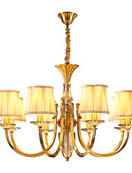 cheap -QIHengZhaoMing 8-Light 85 cm Crystal Chandelier Metal Fabric Candle-style Brass Chic & Modern 110-120V / 220-240V