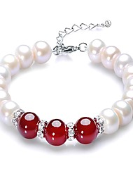 cheap -Women's Onyx Freshwater Pearl Bead Bracelet Dainty Ladies Classic Vintage Elegant Stainless Steel Bracelet Jewelry Red For Party Gift / S925 Sterling Silver
