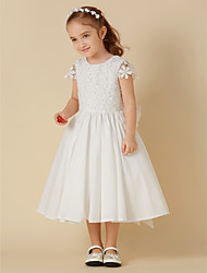 cheap -A-Line Knee Length Flower Girl Dress - Cotton / Lace Short Sleeve Scoop Neck with Bow(s) / First Communion