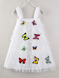 cheap -Toddler Girls' Basic Sweet Daily Going out Butterfly Solid Colored Layered Sleeveless Knee-length Dress White / Cotton