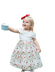 cheap -Kids Girls' Sweet Street chic Party Holiday Floral Lace Mesh Sleeveless Midi Dress White / Cotton