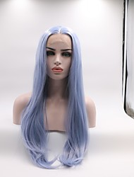 cheap -Synthetic Lace Front Wig Straight Layered Haircut Middle Part Lace Front Wig Long Sky Blue Synthetic Hair 22-24 inch Women's Curler & straightener Blue