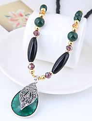 Недорогие -Ожерелья с подвесками длинное ожерелье Длиные Свисающие Дамы Винтаж европейский Мода Резина Сплав Темно-зеленый 78 cm Ожерелье Бижутерия Назначение Повседневные