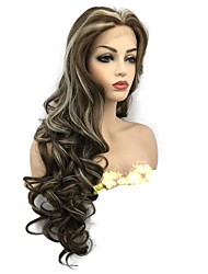 cheap -Synthetic Lace Front Wig Curly Middle Part Lace Front Wig Long Medium Golden Brown Synthetic Hair Women's Highlighted / Balayage Hair Brown StrongBeauty