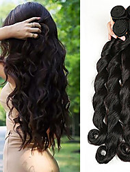 cheap -4 Bundles Brazilian Hair Loose Wave Virgin Human Hair Natural Color Hair Weaves / Hair Bulk 8-28 inch Natural Black Human Hair Weaves Comfy Thick Hair End Double Weft Human Hair Extensions / 10A