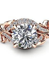 Недорогие -Жен. Обручальное кольцо Синтетический алмаз Светло-коричневый Медь Позолоченное розовым золотом Металл Круглый Геометрической формы Дамы Праздник Мода Для вечеринок Маскарад Бижутерия / Пасьянс