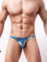 cheap -Men's Basic Briefs Underwear - Normal, Camo / Camouflage Low Waist Yellow Blue Green S M L
