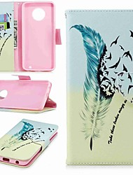 cheap -Case For Motorola Moto G5s Plus / Moto G5s / Moto G5 Plus Wallet / Card Holder / with Stand Full Body Cases Feathers Hard PU Leather / Moto G4 Plus