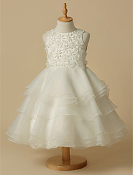 cheap -A-Line Knee Length Wedding / First Communion Flower Girl Dresses - Lace / Organza Sleeveless Scoop Neck with Lace