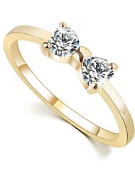 cheap -Women's Couple Rings Engagement Ring Promise Ring Diamond Crystal Cubic Zirconia 1pc Gold Alloy Ladies Vintage Sweet Wedding Party Jewelry Bowknot