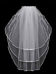 cheap -Three-tier Fashionable Jewelry / Flower Style / Mesh Wedding Veil Chapel Veils with Fringe / Splicing 31.5 in (80cm) POLY / Tulle / Oval
