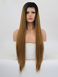 cheap -Synthetic Lace Front Wig Straight Layered Haircut Lace Front Wig Long Medium Brown / Strawberry Blonde Synthetic Hair Women's Natural Hairline Brown