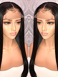 cheap -Remy Human Hair Unprocessed Human Hair Lace Front Wig With Ponytail Kardashian style Brazilian Hair Straight Natural Wig 130% Density with Baby Hair Natural Hairline 100% Virgin Unprocessed Bleached