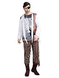 cheap -Ghost Zombie Costume Unisex Halloween Halloween Carnival Masquerade Festival / Holiday Polyster Outfits Black Solid Colored Halloween