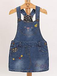 cheap -Kids Girls' Basic Daily Geometric Print Sleeveless Knee-length Dress Blue / Cotton