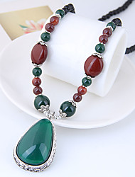 cheap -Aventurine Pendant Necklace Long Necklace Long faceter Rosary Chain Drop Ladies Asian Fashion Vintage Resin Alloy Dark Green 78 cm Necklace Jewelry For Daily