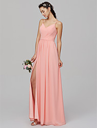 cheap -A-Line Spaghetti Strap Floor Length Chiffon Bridesmaid Dress with Criss Cross / Split Front