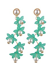 cheap -Drop Earrings Long Floral / Botanicals Flower Ladies Sweet Fashion Pearl Imitation Pearl Earrings Jewelry Yellow / Green / Pink For Party / Evening Street